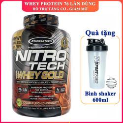 [TẶNG BÌNH] Sữa tăng cơ Nitro Whey Gold của MUSCLETECH hương Socola hộp 76 lần dùng hỗ trợ tăng cơ, giảm cân, đốt mỡ, tăng sức bền, sức mạnh cho người tập GYM