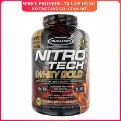 Sữa tăng cơ Nitro Whey Gold của MUSCLETECH hương Socola hộp 76 lần dùng hỗ trợ tăng cơ, giảm cân, đốt mỡ, tăng sức bền sức mạnh cho người tập gym
