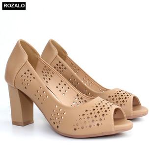 Giày nữ cao gót 7P đục lỗ hình quả trám hở mũi Rozalo R6100 - 6100 thumbnail