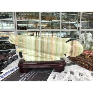 Tượng Cá Rồng phong thủy tài lộc đá ngọc Onyx - Dài 39 cm - THDV31161 thumbnail