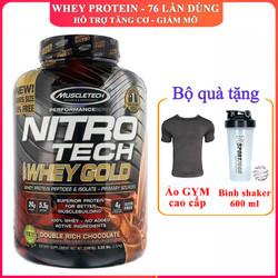 [TẶNG BÌNH VÀ ÁO] Sữa tăng cơ Nitro Whey Gold của MUSCLETECH hương Socola hộp 76 lần dùng hỗ trợ tăng cơ, giảm cân, đốt mỡ, tăng sức bền sức mạnh cho người tập gym