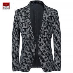 Áo blazer nam cổ vest hoạ tiết hình học mới lạ