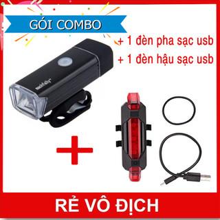 Bộ Combo phụ kiện xe đạp đèn pha xe đạp Machfally + đèn hậu xe đạp sạc usb - Machfally đen + hậu usb đỏ thumbnail