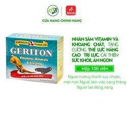 Viên uống nhân sâm, tăng cường thể lực, sức đề kháng,vitamin,khoáng chất-Robinson Pharma USA - GERITON