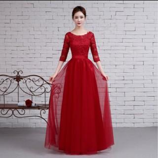 Thời trang đầm cô dâu kiểu dạ hội màu đỏ ren có lót size M - 350 thumbnail