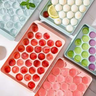 Khay làm đá 33 viên hình tròn nhựa dẻo CAO CẤP, dụng cụ làm đá 2 mảnh úp vào nhau an toàn thực phẩm - Khay làm đá 33 viên hình tròn thumbnail