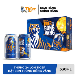[HCM] Thùng 24 lon bia Tiger (Bật lon Tiger giơ cao bóng vàng) 330ml/lon