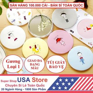 Gương Mini Dễ Thương Trang Điểm Hàn Quốc - Gương Tròn Mini Bỏ Túi - 812397714 thumbnail