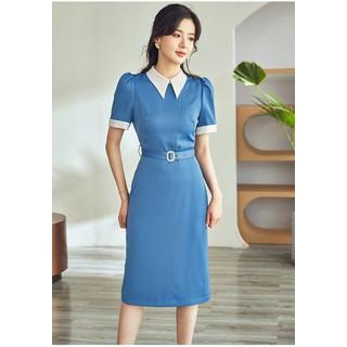 Đầm bút chì xanh dương cổ sơ mi - 0009605 thumbnail