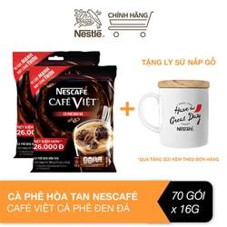 [Tặng ly sứ nắp gỗ] Combo 2 bịch cà phê hòa tan Nescafé café Việt cà phê đen đá (Túi 35 gói x 16g)