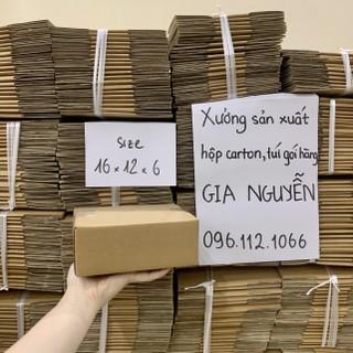 Hộp đóng gói hàng carton 16x12x6 dày, thùng bìa cứng đóng hàng Gia Nguyễn - hộp bìa carton thumbnail
