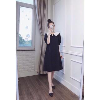 Váy bầu đẹp [ĐƯỢC KIỂM TRA HÀNG] Đầm bầu Đen chấm bi cổ sen full size S M L - 140_44559116 thumbnail