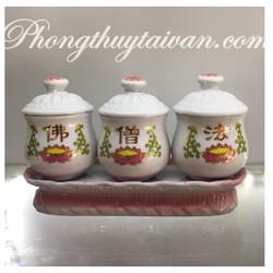 Khay chum nước 3 ly sứ trắng khắc chữ Hán HOA SEN (muối gạo nước)-15cm