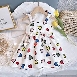 Váy Yếm 2 dây cho bé gái hoạt tiết hình Tim
