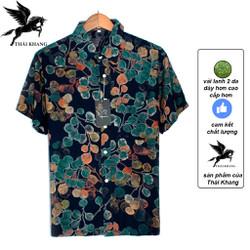 áo sơ mi nam ngắn tay trung niên vải lanh 2 da cực mát loại áo sơ mi hoa lá