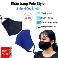 Khẩu trang 2 lớp vải Su trượt nước quay đeo nút rút, dễ thở, đeo thoải mái, chống nắng, chống bụi mịn, ngăn ngừa các bênh lây qua đường hô hấp