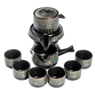 Bộ ấm chén pha trà đạo cối xay kiểu hoài cổ bằng gốm sứ cao cấp Bộ Họa tiết hoa vàng - ấm nâu - có hộp giấy - Túi xách - AMCHEN001-001 thumbnail