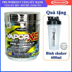 Thực phẩm bổ sung Pre Workout tăng sức mạnh Vapor X5 của MuscleTech hộp 30 lần dùng hỗ trợ tăng sức bền, sức mạnh, đốt mỡ, giảm cân cho người tập GYM