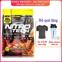 Sữa tăng cơ siêu mạnh NitroTech của MuscleTech hương chocolate bịch 100 lần dùng hỗ trợ tăng cơ, giảm cân đốt mỡ, tăng sức bền sức mạnh