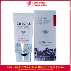 Kem chống nắng - Xịt chống nắng 3W CLINIC CRYSTAL WHITE MILKY SUN CREAM SPF 50/ PA +++ hàn Quốc 50ml