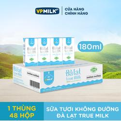 Sữa Tươi Đà Lạt True Milk, Sữa Tươi Giàu Canxi, Đạm Sữa Tự Nhiên  [12 Lốc Sữa Không Đường 180ml]
