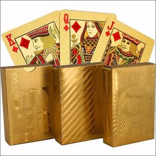 Bộ Bài Tây Mạ Vàng Hình Dolar, Euro - Bộ bài mạ vàng 24k 52 lá - 0706 thumbnail
