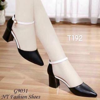 Giày cao gót đầu bịt da trơn cao 5cm - T192 thumbnail