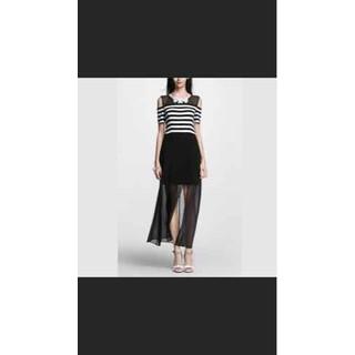Đầm dáng dài hai lớp đen, xanh sọc trắng - D53-53 thumbnail