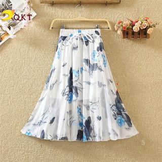Chân váy nữ QKT Chân váy vintage cạp chun họa tiết hoa xinh cv09 - c09 thumbnail