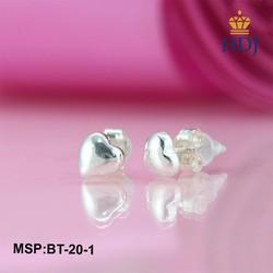 Khuyên tai nữ bạc đơn giản hình trái tim tinh tế trang sức cao cấp HDJ mã BT-20-1