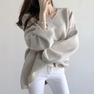 (Có sẵn) Áo len rộng dáng dài áo len lông mềm mại phong cách hàn - HE5422N thumbnail