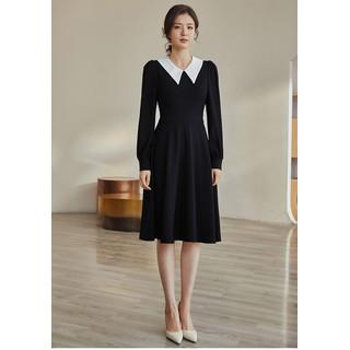 Đầm đen xòe tròn cổ sơ mi trắng - 0009613 thumbnail