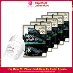 Combo 10 Túi Mặt Nạ dưỡng trắng da thải độc chiết xuất Than Hoạt Tính 3W Clinic Hàn Quốc 23mlx10