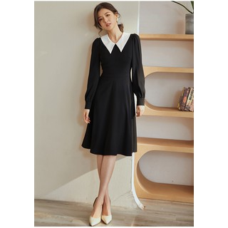Đầm đen xòe cổ sơ mi trắng lá cổ nhọn - 0009613 thumbnail