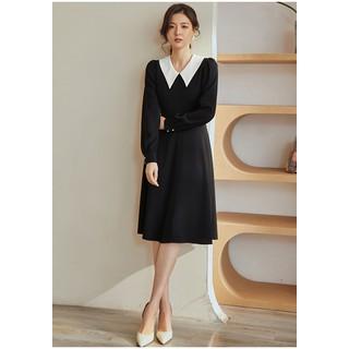 Đầm xòe tròn tay dài cổ sơ mi trắng nhọn - 0009613 thumbnail