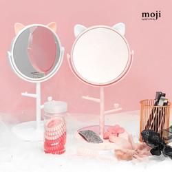 Gương tai mèo để bàn đế bàn trang điểm có thanh treo phụ kiện tiện dụng