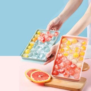 Khay làm đá 33 viên hình tròn nhựa dẻo CAO CẤP, dụng cụ làm đá 2 mảnh úp vào nhau an toàn thực phẩm - Khay làm đá 33 viên hình tròn - MI015 thumbnail
