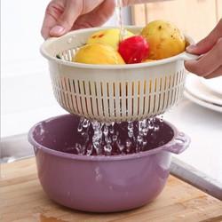Chậu đôi tích hợp rổ lưới rửa rau củ quả, trái cây tiện dụng cho nhà bếp
