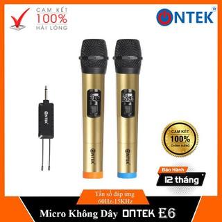 [BH 12 THÁNG]Micro Không dây Karaoke ONTEK E6 cao cấp chính hãng, Dùng chuyên cho các dòng loa kéo, Amply - Bảo hành 12 Tháng - Micro ONTEK E6 - MicE6 thumbnail