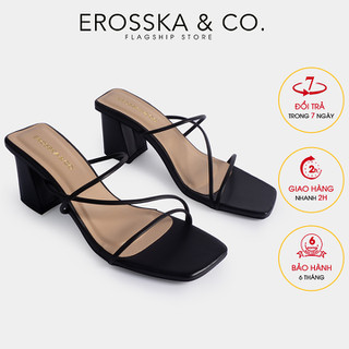Dép cao gót Erosska mũi vuông phối dây kiểu dáng Hàn Quốc cao 7cm màu đen _ EM074 - EM074BA thumbnail