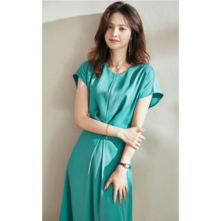 Đầm xanh ngọc vai liền cổ tròn - 0009618 thumbnail