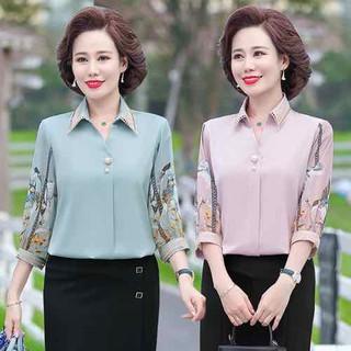 áo trung niên nữ _ áo sơ mi kiểu trung niên _áo trung niên nữ tay phối họa tiết - ASMTNCC thumbnail