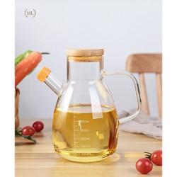 Bình thủy tinh chịu nhiệt, chai lọ có nắp gỗ, nút silicon đựng dầu ăn, giấm, nước tương, nước mắm . BÌNH DẦU NẮP GỖ TRE