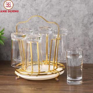 Giá úp cốc tròn INOX mạ vàng có khay nhựa hứng nước - giaupcoctroninox thumbnail