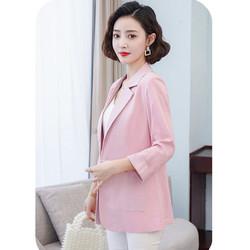 Áo vest blazer nữ Linen demi tay lỡ trẻ trung, thời trang hè thu 2021