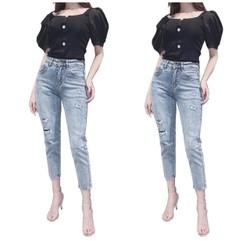 Quần jean nữ big size phom baggy lưng cao rách ít vải co dãn mạnh 2977