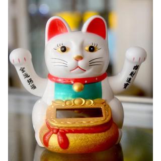 Mèo Thần Tài vẫy khách đeo túi vàng hai tay năng lượng mặt trời cao 10cm - 9075555 thumbnail