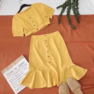 Set áo váy nút nữ vintage - Mi610 thumbnail
