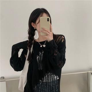 FREESHIP (ORDER) Áo len lưới đan móc rách hở mặc ngoài style cá tính retro Hàn Quốc - RiU24J thumbnail