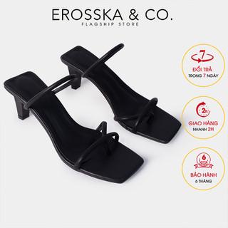 Dép cao gót thời trang Erosska kiểu dáng xỏ ngón phối dây cao 8cm màu đen EM072 - EM072BA thumbnail
